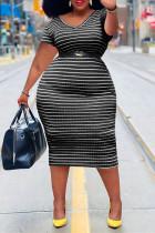 Black Fashion Casual Plus Size Striped Print Without Belt V Neck Short Sleeve Dress