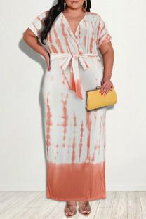 Orange Fashion Casual Print Slit V Neck Short Sleeve Dress Plus Size Dresses