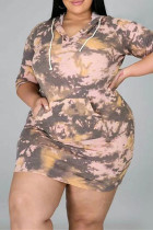Khaki Fashion Casual Plus Size Tie Dye Printing Hooded Collar Long Sleeve Dresses