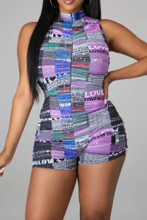 Purple Sexy Print Split Joint Zipper Collar Skinny Jumpsuits