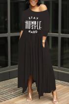 Black Casual Letter Print Basic Oblique Collar Irregular Dress