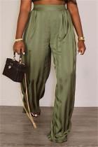 Green Fashion Casual Striped Basic Regular High Waist Trousers