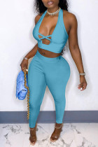 Light Blue Fashion Sexy Solid Hollowed Out Backless Halter Sleeveless Two Pieces