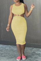 Yellow Sexy Casual Solid Hollowed Out Backless O Neck Vest Dress