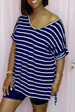Dark Blue Casual Striped Split Joint V Neck Short Sleeve Two Pieces