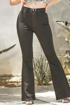 Black Fashion Casual Solid Basic High Waist Regular Jeans