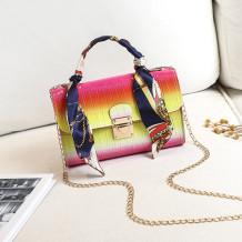 Yellow Fashion Casual Gradual Change Chains Messenger Bag