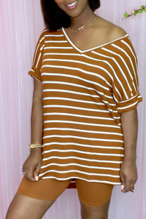 Yellow Casual Striped Split Joint V Neck Short Sleeve Two Pieces