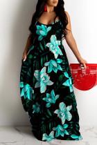 Sky Blue Sweet Print Split Joint Spaghetti Strap Sling Dress Dresses
