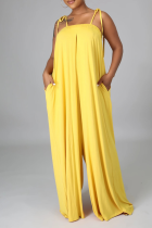 Yellow Casual Solid Split Joint Spaghetti Strap Straight Jumpsuits