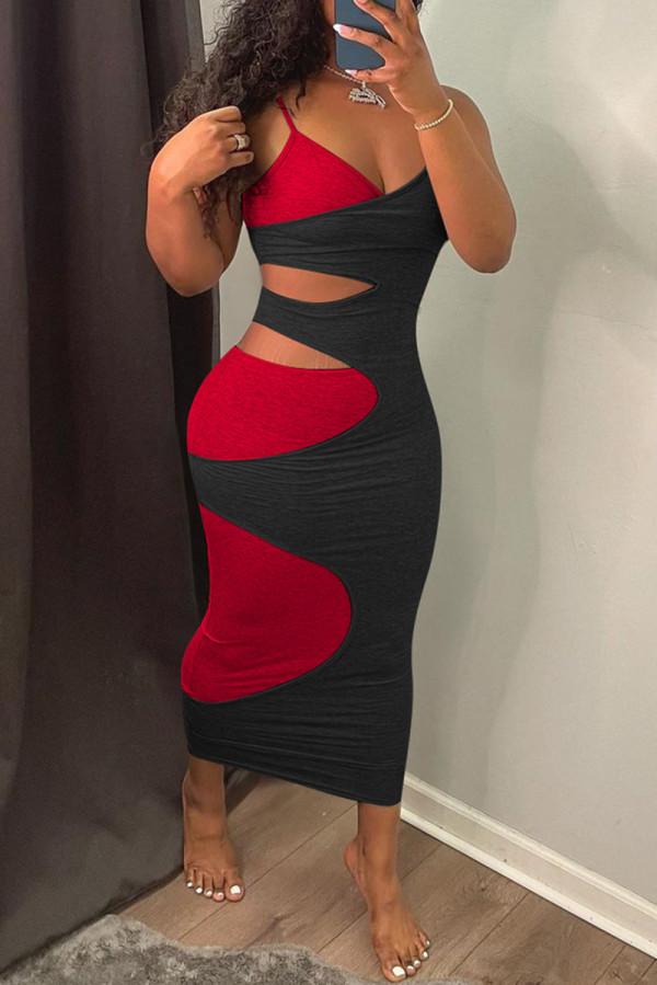 Black Fashion Sexy Patchwork Hollowed Out Backless V Neck Sling Dress