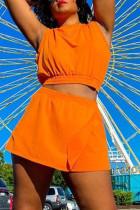 Orange Fashion Casual Solid Basic O Neck Sleeveless Two Pieces