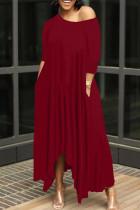 Burgundy Casual Solid Split Joint Asymmetrical O Neck Irregular Dress Dresses
