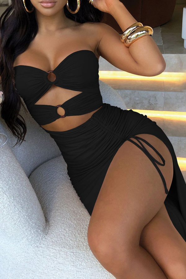 Black Sexy Solid Hollowed Out Strapless Irregular Dress Dresses