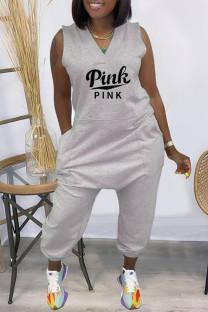 Grey Fashion Casual Letter Print Pocket V Neck Regular Jumpsuits
