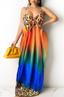 Leopard Print Casual Print Split Joint Spaghetti Strap Sling Dress Dresses