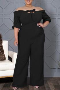 Black Fashion Casual Solid Bandage Backless Off the Shoulder Plus Size Jumpsuit