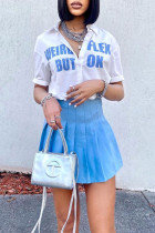 Blue Fashion Casual Letter Print Basic Turndown Collar Short Sleeve Two Pieces