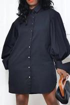 Black Fashion Elegant Solid Split Joint Fold Turndown Collar Tops