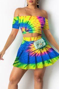 Multi-color Casual Print Split Joint Strapless Short Sleeve Two Pieces