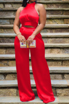 Red Elegant Solid Bandage Split Joint Halter Sleeveless Two Pieces