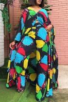 Colour Fashion Casual Print Slit V Neck Plus Size Two Pieces
