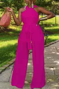 Rose Red Sexy Solid Mesh Halter Straight Jumpsuits