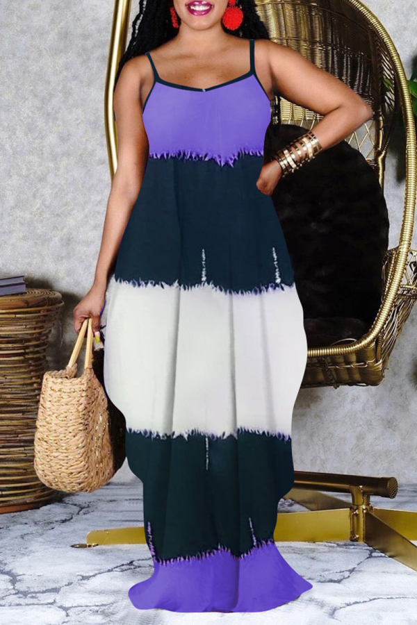 Purple Casual Print Split Joint Spaghetti Strap Cake Skirt Dresses
