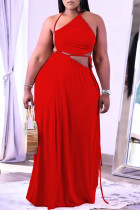 Red Sexy Solid Frenulum Backless Asymmetrical Halter Straight Plus Size Dresses