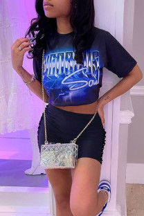 Blue Black Casual Print Split Joint O Neck Short Sleeve Two Pieces