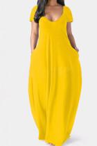 Yellow Casual Solid Split Joint Pocket V Neck Short Sleeve Dress Dresses