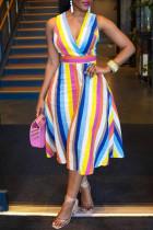 Multicolor Fashion Sexy Striped Print Backless V Neck Sleeveless Dress