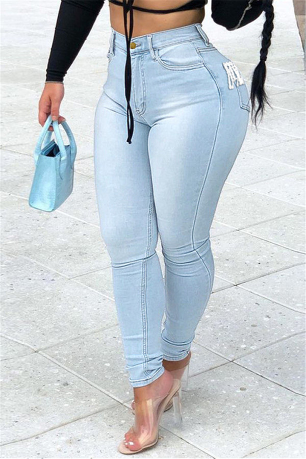 Light Blue Fashion Casual Solid Tassel High Waist Regular Jeans