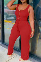 Red Fashion Sexy Solid Sleeveless O Neck Jumpsuits