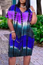 Purple Casual Print Split Joint V Neck A Line Dresses