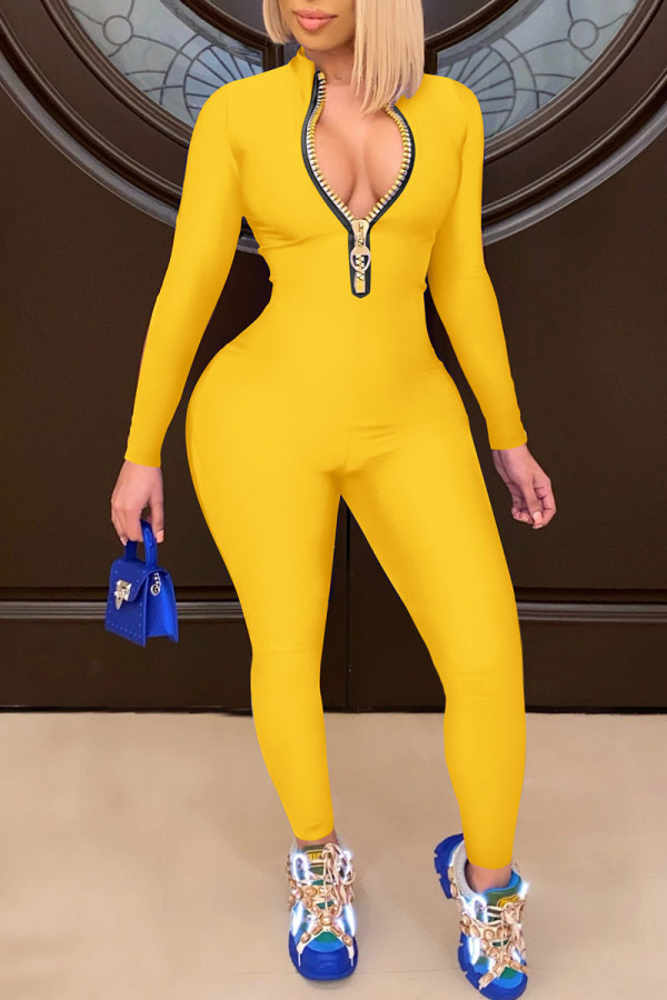Yellow Casual Solid Split Joint Zipper Collar Skinny Jumpsuits