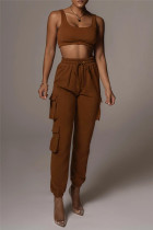 Coffee Fashion Casual Solid Vests Pants U Neck Sleeveless Two Pieces