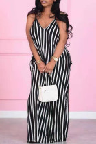 Black Casual Striped Split Joint Spaghetti Strap Straight Plus Size Dresses