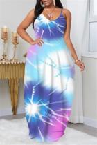 Blue Fashion Plus Size Solid Backless Spaghetti Strap Sleeveless Dress