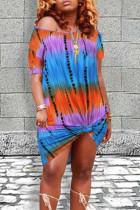 Blue Purple Casual Print Tie Dye Split Joint O Neck Straight Dresses