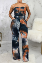 Multicolor Sexy Patchwork Tie-dye Strapless Straight Jumpsuits