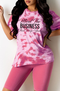 Pink Casual Patchwork Tie-dye Letter O Neck Short Sleeve Two Pieces