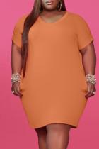 Orange Fashion Casual Plus Size Solid Basic V Neck Short Sleeve Dress