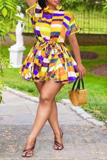 Yellow Sexy Print Split Joint O Neck Cake Skirt Plus Size Dresses
