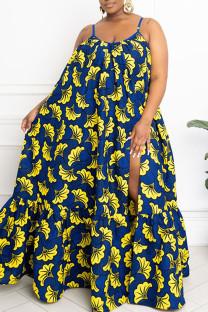 Blue Sexy Print Split Joint High Opening Spaghetti Strap Sling Dress Plus Size Dresses