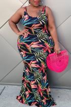 Black Casual Print Split Joint U Neck Vest Dress Plus Size Dresses
