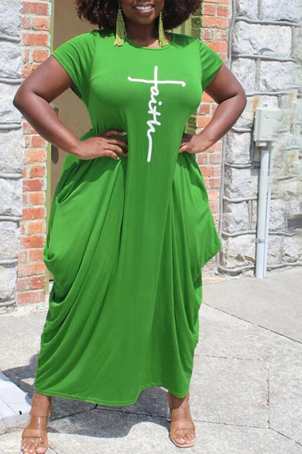 Green Casual Print Split Joint Asymmetrical O Neck Short Sleeve Dress Plus Size Dresses