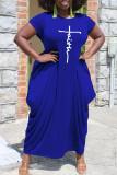 Light Purple Casual Print Split Joint Asymmetrical O Neck Short Sleeve Dress Plus Size Dresses
