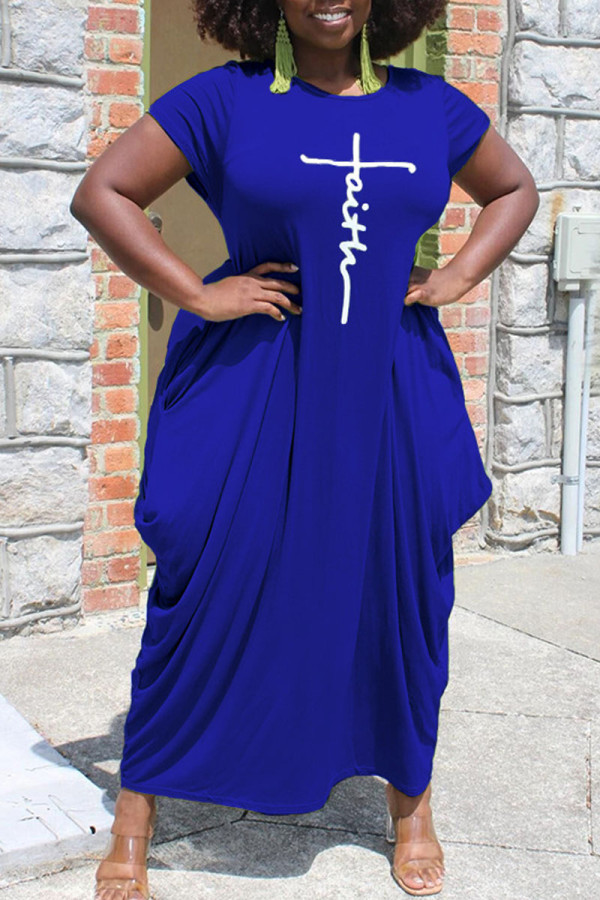 Deep Blue Casual Print Split Joint Asymmetrical O Neck Short Sleeve Dress Plus Size Dresses