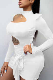 White Sexy Solid Bandage Hollowed Out Split Joint Asymmetrical O Neck Pencil Skirt Dresses